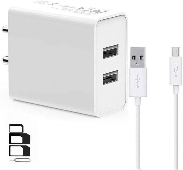 UrCart Wall Charger Accessory Combo for Samsung Galaxy Star Trios S5283, S, Samsung Galaxy Star Trios, Samsung Galaxy Star, Samsung Galaxy Stellar 4G I200, Samsung Galaxy Stratosphere II I415, Samsung Galaxy Tab 10.1 LTE I905, Samsung Galaxy Tab 2 10.1 CDMA, Samsung Galaxy Tab 2 10.1 P5110, Samsung Galaxy Tab 2 7.0 P3100, Samsung Galaxy Tab 2 7.0 P3110 Dual Port Charger Original Adapter Like Wall Charger, Mobile Power Adapter, Fast Charger, Android Smartphone Charger, Battery Charger, High Speed Travel Charger With 1 Meter Micro USB Cable Charging Cable Data Cable