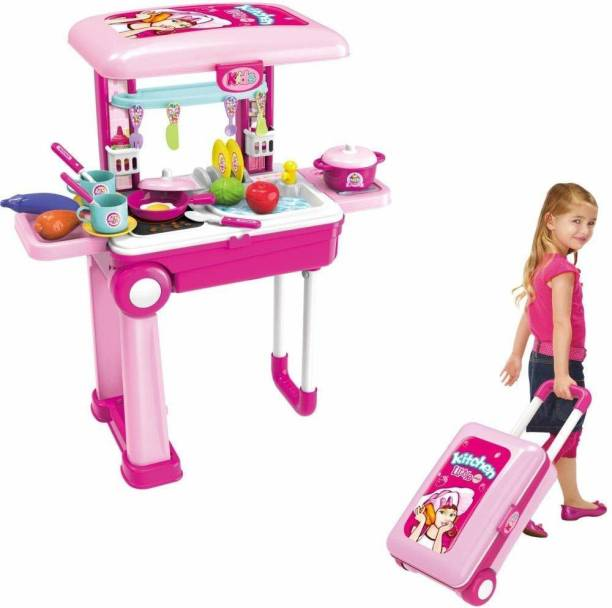 UNIQUE CREATION Little Chef 2 in 1 Kitchen Play Set, Pretend Play Luggage Kitchen Kit for Kids with Suitcase Trolley, Multi Color with Lights & Sound