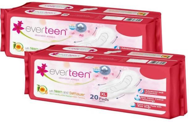 everteen XL Cottony-Soft Sanitary Pads (Neem, Safflower) 40pcs Sanitary Pad