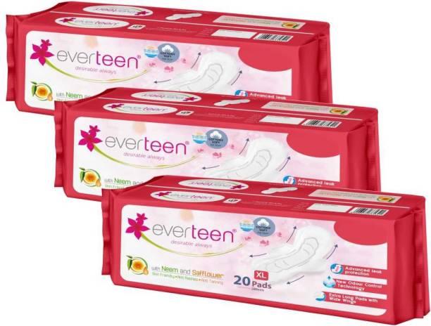 everteen XL Cottony-Soft Sanitary Pads (Neem, Safflower) 60pcs Sanitary Pad
