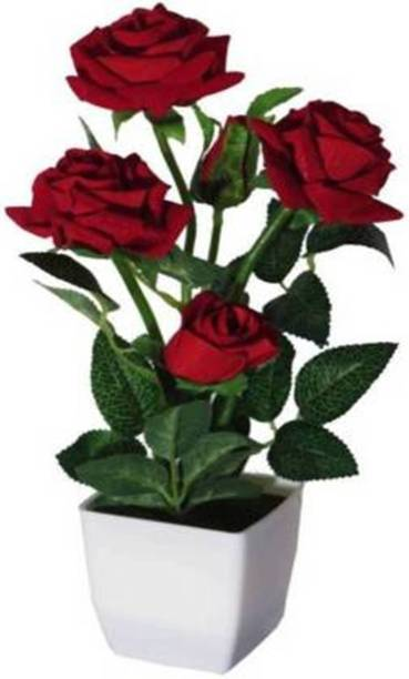 SSPLANTS Red Rose Artificial Flower  with Pot