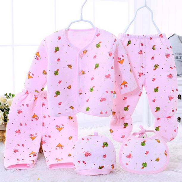 Fancy Walas Presents New Born Baby Winter Wear Keep warm Baby Clothes 5Pcs