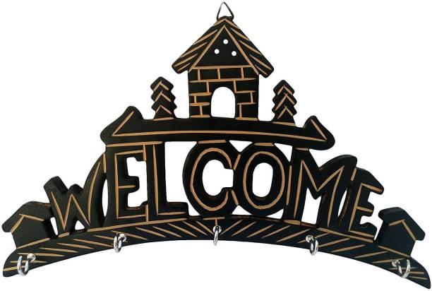 SZHC Wooden Key Hanger Holder Wall Hanging Decor Welcome Home Wood Key Holder