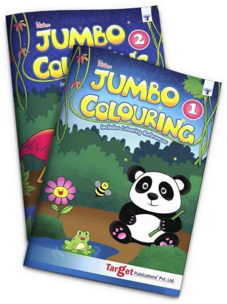 Blossom Jumbo Creative Colouring Books Combo For Kids | 3 To 7 Years Old | Best Gift To Children For Drawing, Coloring And Painting With Colour Reference Guide | Level 1 And 2 - Set Of 2 Books | A3 Size