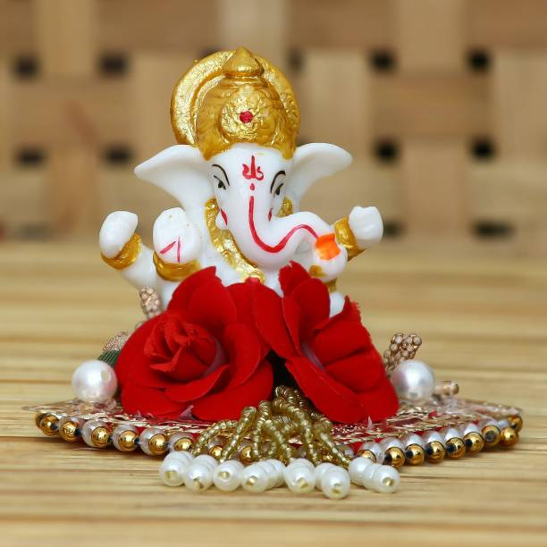 eCraftIndia Lord Ganesha Idol on Decorative Handcrafted Plate for Home and Car Decorative Showpiece  -  8 cm