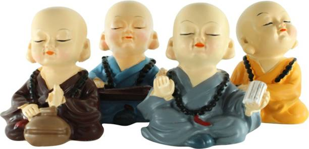 Mobaccs Feng Shui 4 Monk Baby Buddha Figurine Decorative Showpiece  -  6 cm
