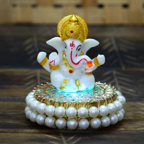 eCraftIndia Lord Ganesha Idol on Decorative Handcrafted Plate for Home and Car Decorative Showpiece  -  9 cm