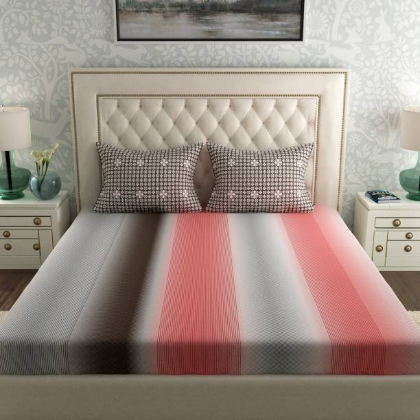SPACES 144 TC Cotton Double Striped Bedsheet