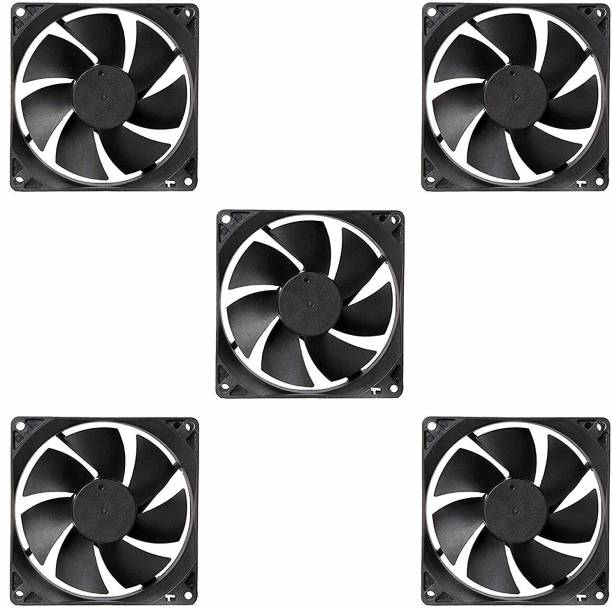 Electronicspices PACK OF 5 DC 12V Cooling Fan for PC Case, CPU Cooler Radiator (Black) Cooler