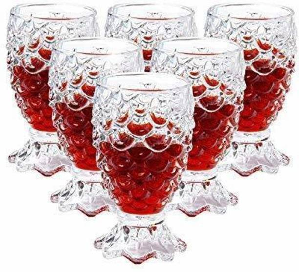 OSWORLD (Pack of 6) Juice and Water Glass,Pineapple Shaped Fancy Glass for Cocktail Rum Beer Whiskey Wine mocktail soda Mojito, Set of 6 Glass Set