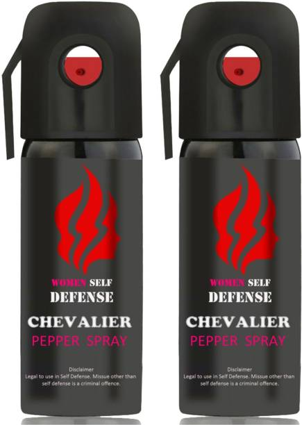 CHEVALIER Women Self Defence Pepper Spray for Safety/Protection, Compact Size with Clip | Max Protection - 45 shots | 55 ml | Pack of 2 Pepper Stream Spray