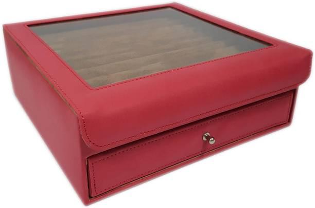 Essart 11081-Maroon Cufflink & Jewelry Box, Earring Box, Makeup & Vanity Box, Small Jewelry Box, Multipurpose Box, Rings Display Box, Earring Display Box, Cufflink Display Box Vanity Box