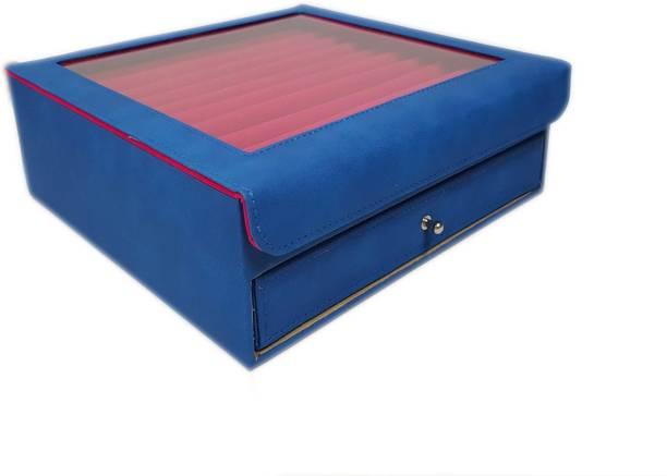 Essart 11081-Blue Cufflink & Jewelry Box, Earring Box, Makeup & Vanity Box, Small Jewelry Box, Multipurpose Box, Rings Display Box, Earring Display Box, Cufflink Display Box Vanity Box