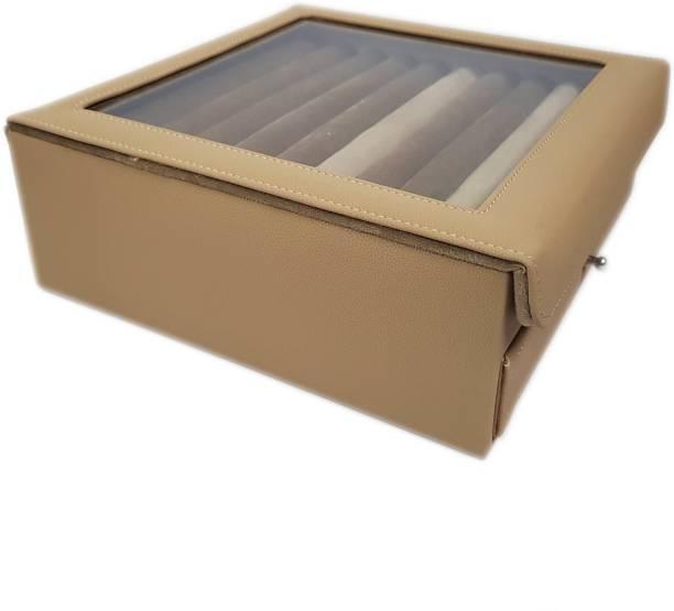 Essart 11081-Cream Cufflink & Jewelry Box, Earring Box, Makeup & Vanity Box, Small Jewelry Box, Multipurpose Box, Rings Display Box, Earring Display Box, Cufflink Display Box Vanity Box