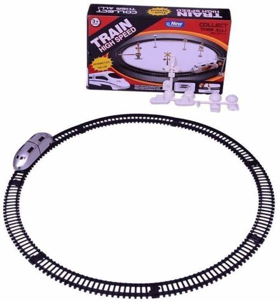 RISING BABY High Speed Metro Train with Round Track with Sign Boards for Kids (Multicolor)