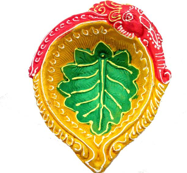 SUNINOW Suninow Handpainted Terracotta/Earthen Clay Decorative Big Diwali Diya/Tealight for Deepawali Pooja/Puja (Orange) Terracotta Table Diya Set