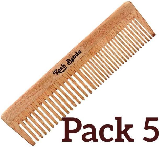 kesh Bindu Natural Neem Wood Hair Comb For Men & Women pack of 5