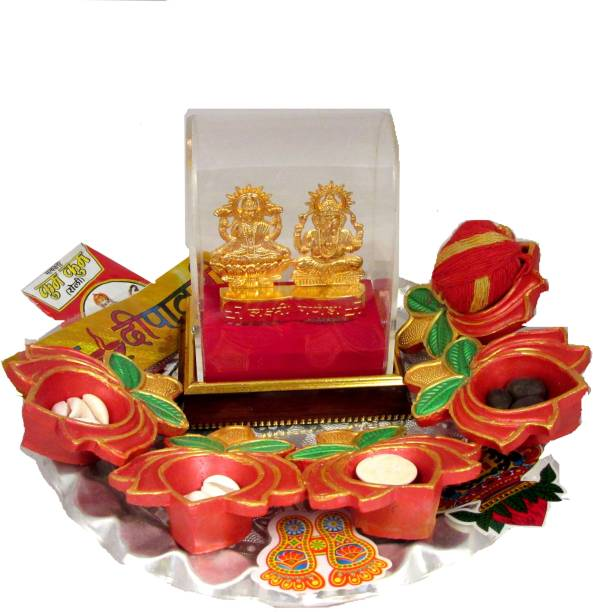 SUNINOW Suninow Metal laxmi Ganesh Idol | Diwali puja samagri kit | Diwali Products | Diwali Pooja kit Silver Plated