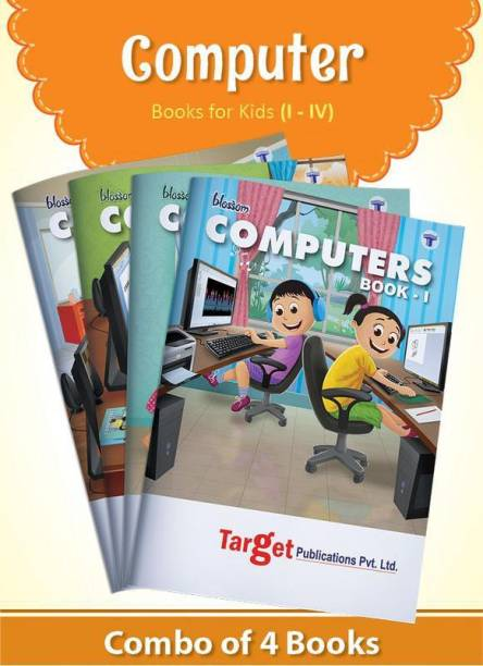 Blossom Basic Knowledge Of Computer Learning Books For Kids | Level 1 To 4 | Computer Fundamentals, Applications And Features | MS Paint, Notepad, Wordpad, Windows, MS Office, Internet And MSW Logo | Set Of 4 Books