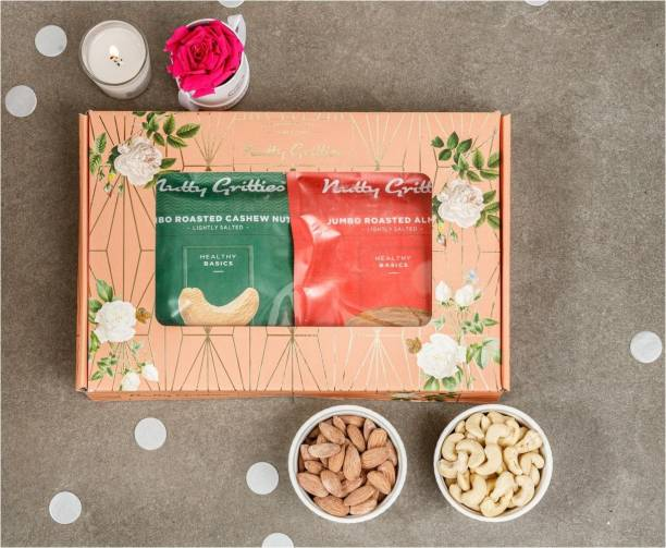 Nutty Gritties Mixed Nuts Dry Fruits - Salted Roasted Almonds & Cashews(200g each)