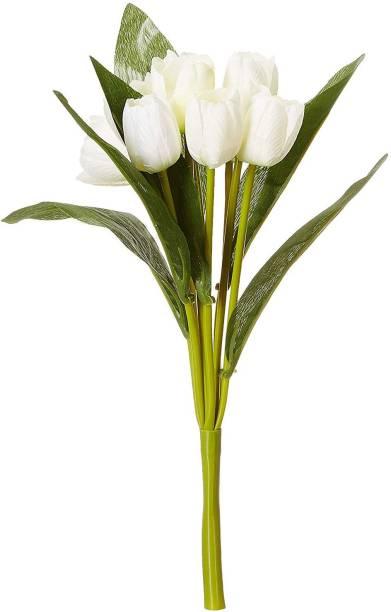 FOURWALLS Fourwalls Beautiful Artificial Tulip Bunch (40 cm, 9 Flowers, White White Tulips Artificial Flower