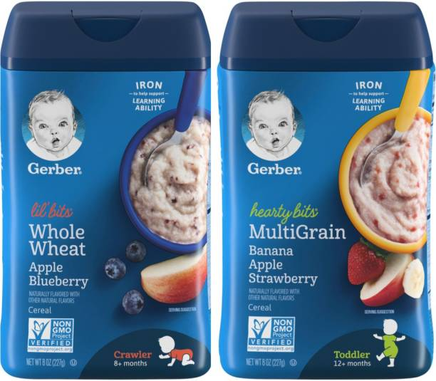 GERBER Lil' Bits Baby Cereal, Whole Wheat Apple Blueberry, + Hearty combo Cereal