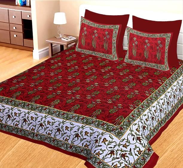 clothology 144 TC Cotton Double Jaipuri Prints Bedsheet