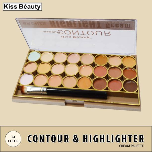 Kiss Beauty All Round Contour Highlight Cream Palette 9464-02 with Adbeni Kajal Concealer