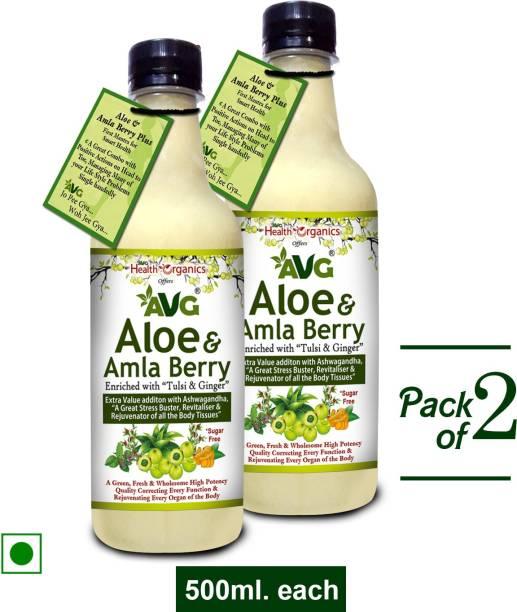 AVG Health Organics Aloevera Amla Juice mix with Ashwagandha- Pack of 2
