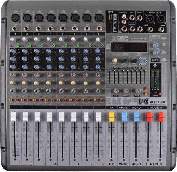 MX Live Powered Audio Mixer 8 Channel Professional Mixer with USB Powered Sound Mixer