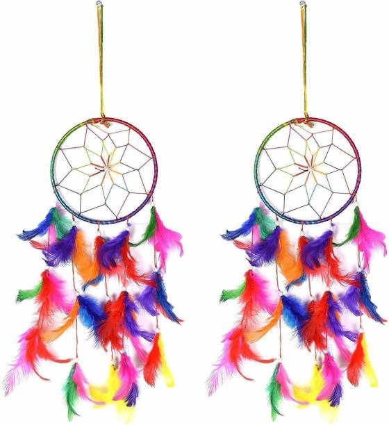 Ryme Combo Pack Of (2) 6 Inches Multi Color Wall Hanging Dream catcher For Home/Office Feather Dream Catcher