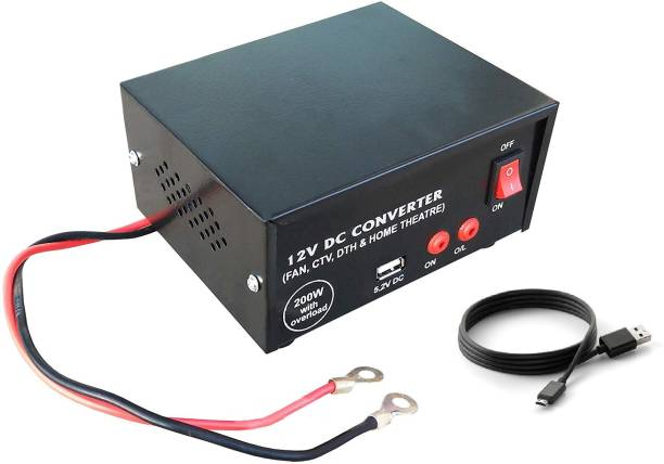 ERH India High Power USB 12V DC to AC Converter 200 Watt with Charging Cable Worldwide Adaptor