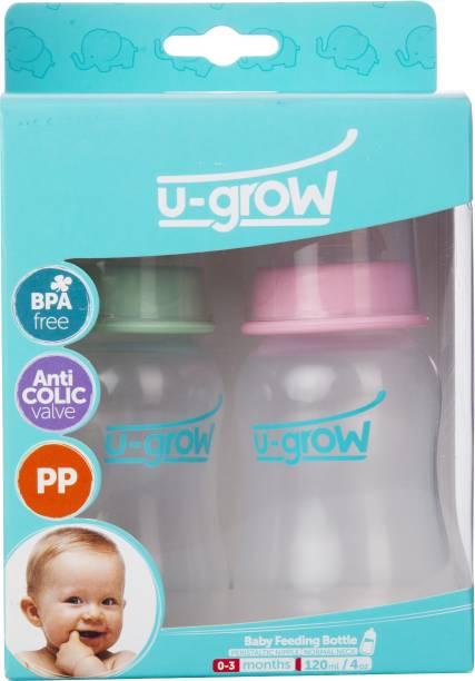 U-grow Normal Neck Baby Feeding Bottle, Green & Pink 120ml - 120 ml