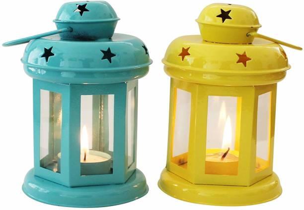 Being Nawab Yellow, Blue Iron Hanging Lantern