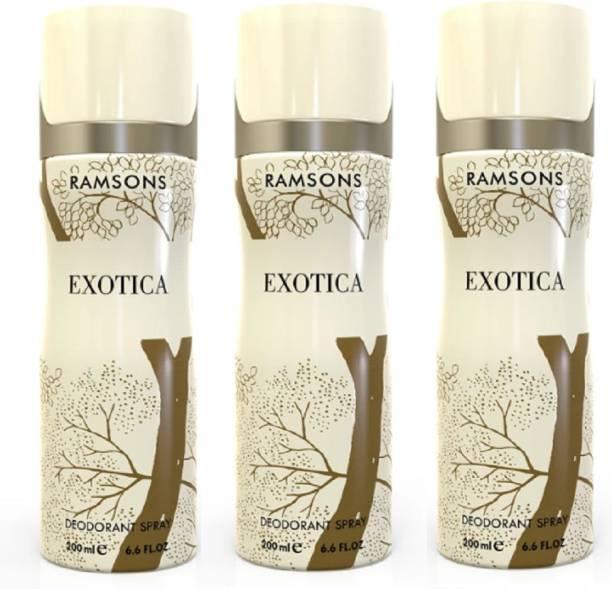 RAMSONS Exotica Deodorant Body Spray 200ml Each (Pack Of 3) Deodorant Spray  -  For Men