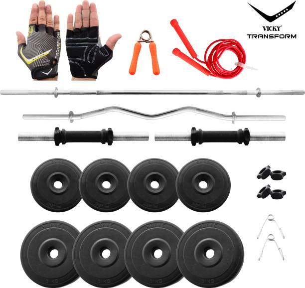 Vicky Transform 30 kg PVC 30 Kg Curl And Straight Rod Super Deluxe Combo Home Gym Combo