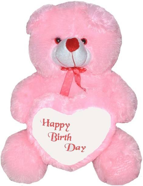 TEDDYIA 2 Feet Sitting Soft And Cute teddy Bear With Happy Birthday Love Shape heart - Pink (60CM )  - 61.349999999999994 cm