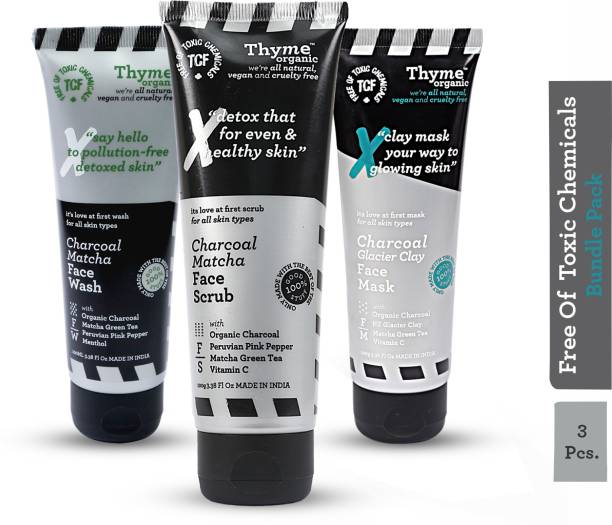 Thyme Organic Charcoal Kit / Bundle :- 1) Charcoal Glacier Clay Mask/ Pack 2) Charcoal Matcha Face Scrub 3) Charcoal Match Face Wash- Toxic Chemical Free