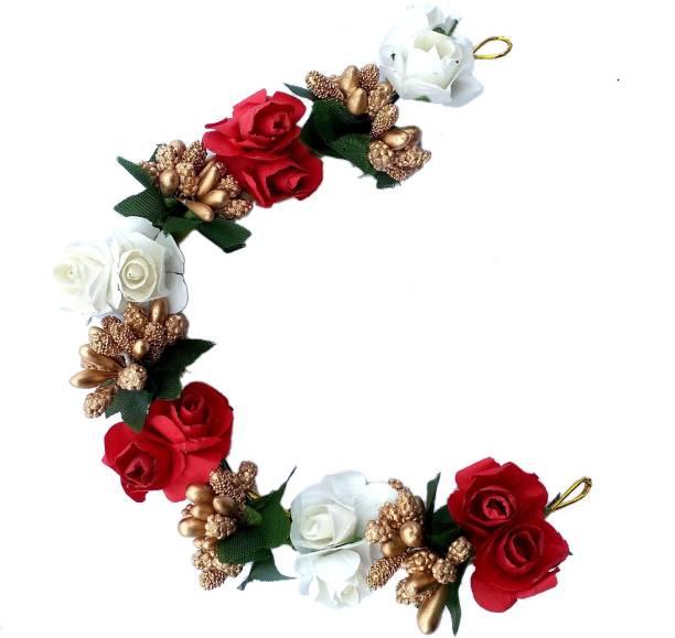 Maahal Bridal Flower Bun Hair Gajra Accessories For Wedding, Juda Decoration Gajra Bun
