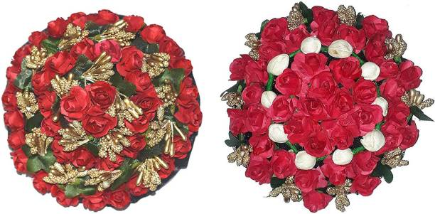 Maahal Full Juda Bun Hair Flower Gajra Combo for Wedding and Parties Red Color Pack of 2 Bun