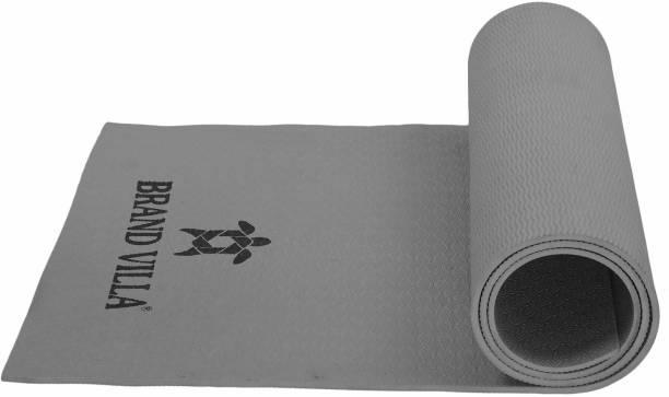 Brandvilla 8MMGREY Eco Friendly Mat, Exercise & Gym Mat With Bag and strap Grey 8 mm Exercise & Gym Mat