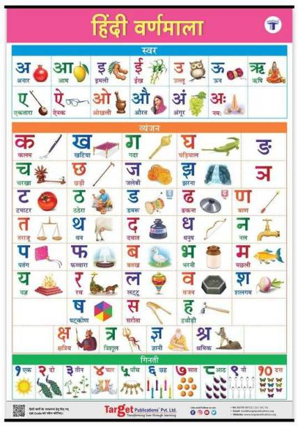 Hindi Varnamala Chart For Kids (Hindi Alphabet And Numbers) | Perfect For Homeschooling, Kindergarten And Nursery Children | (39.25 X 27.25 Inch)