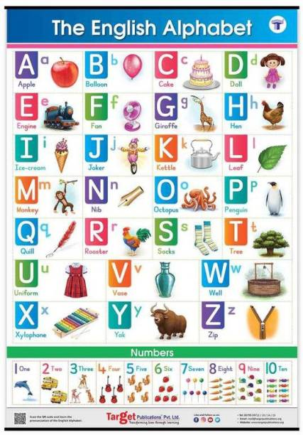 English Alphabet And Numbers Chart For Kids | Perfect For Homeschooling, Kindergarten And Nursery Children | (39.25 X 27.25 Inch)