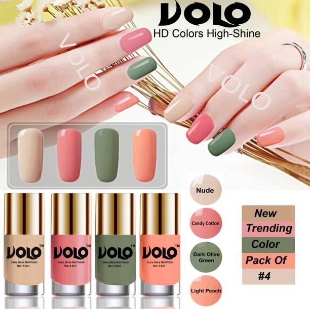 Volo Dazzling Glow Long Stable High Definition Nail Polish Combo Set Combo-No-01 Nude, Candy Cotton, Dark Olive Green, Light Peach