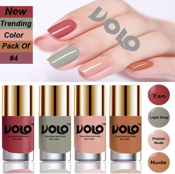 Volo Grand Shine Everlasting High Definition Nail Polish Combo Set Combo-102 Tan, Light Gray, Pinkish Nude, Nude