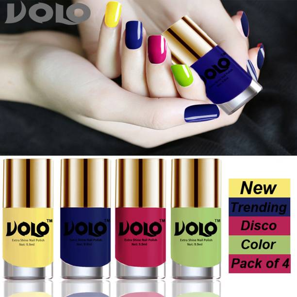 Volo Dazzling Glow Long Stable High Definition Nail Polish Combo Set Combo-No-02 Yellow, Royal Blue, Passion Pink, Parrot Green