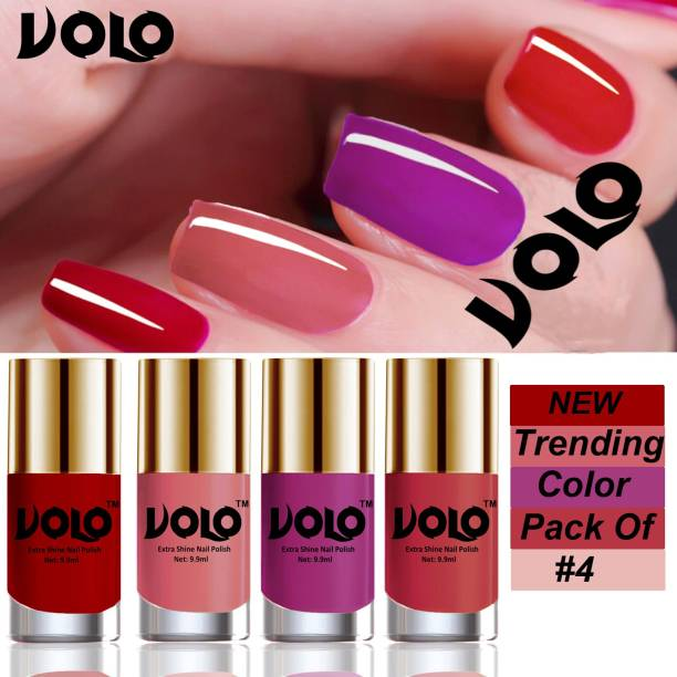 Volo Grand Shine Everlasting High Definition Nail Polish Combo Set Combo-No-03 Red, Pink Peach, Bright Plum, Coral Compass