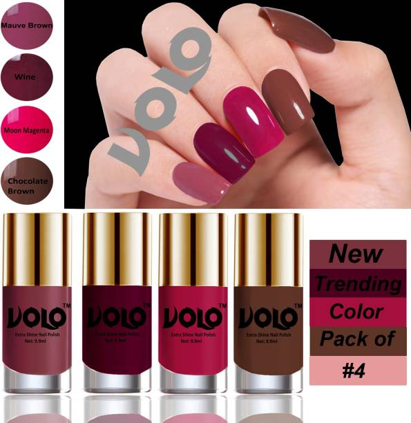 Volo Dazzling Glow Long Stable High Definition Nail Polish Combo Set Combo-103 Mauve Brown, Wine, Moon Magenta, Chocolate Brown