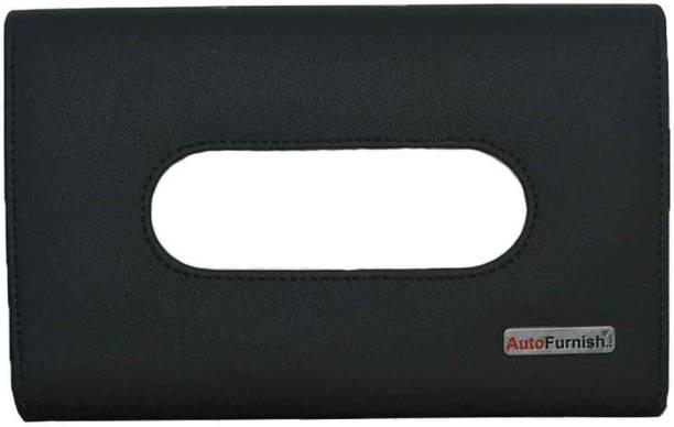 AutoFurnish PU Leather Tissue Box Cover Holder with Single Layer Strap for Car Headrest/Armrest/Visor - Black Vehicle Tissue Dispenser