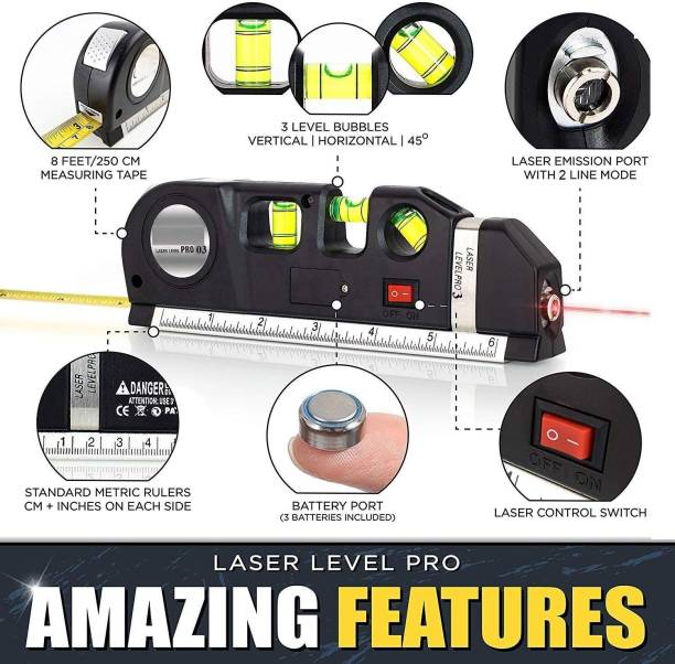 Rangwell lavel pro Laser Level Horizontal Vertical Measure 8FT Aligner Rulers Multipurpose Accurate Line Tape Magnetic Engineer's Precision Level